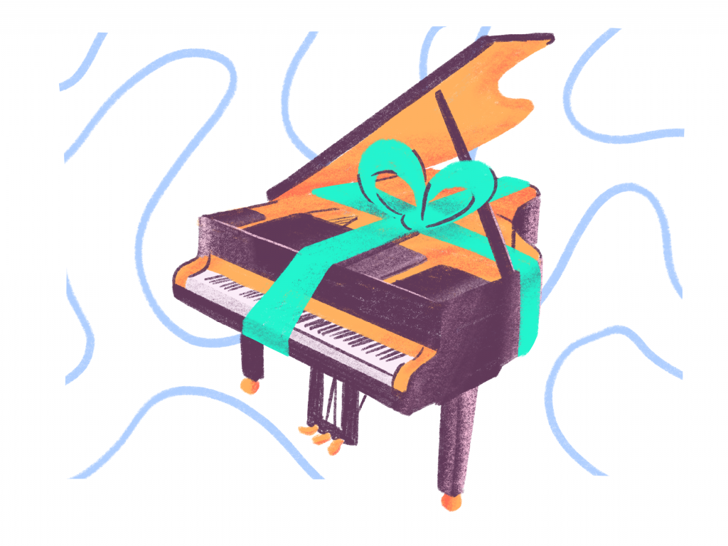 piano gift wrapped with a bow